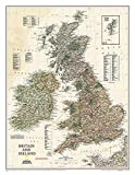 National Geographic: Britain and Ireland Executive Wall Map (23.5 x 30.25 inches) (National Geographic Reference Map)