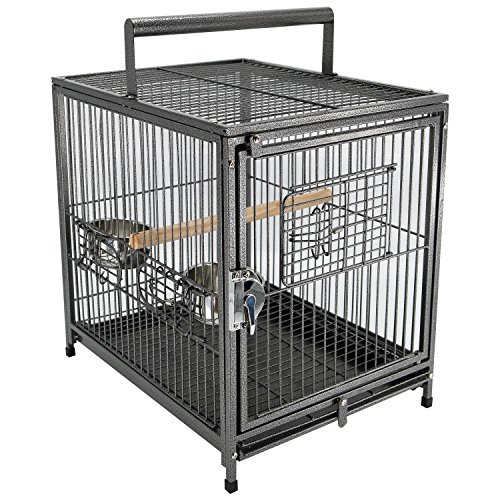 PawHut 22' Heavy Duty Wrought Iron Travel Bird Cage Carrier with Handle Perch and Accessories - Black