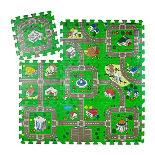 Relaxdays Puzzlematte Straße, 9-teiliger Autoteppich, schadstofffrei, EVA Schaumstoff, Kinderzimmer, BxT: 90x90 cm, bunt