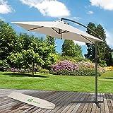 VOUNOT Ampelschirm 300 cm, Sonnenschirm mit Kurbelvorrichtung, Kurbelschirm mit Schutzhülle, Sonnenschutz UV-Schutz, Gartenschirm Marktschirm, Beige