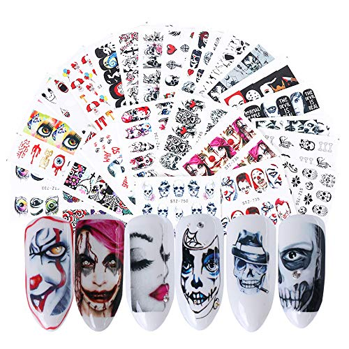 Halloween Nail Stickers - 25 Sheets Day of The Dead Water Transfer Nail Decals Ghost Spider Face Web Witch Skeleton Nail Art Stickers Wraps Manicure Tips Strips Decoration for Halloween Party Supply