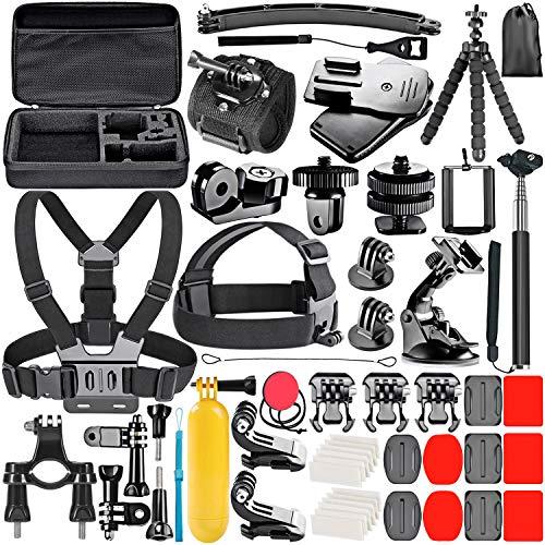 Neewer 53-In-1 Kit di Accessori per Action Camera Compatibile con GoPro Hero 9 8 Max 7 6 5 4 Black GoPro 2018 Sessione Fusion Argento Bianco Insta360 DJI AKASO APEMAN Campark SJCAM Action Camera ecc
