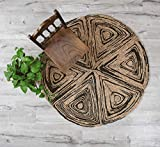 Artera Handmade Star-Shaped Woven Seagrass Rugs, 4' Round, Anti-Slip Circular Natural Fiber Wicker Rugs for Bohemian Decor, House Decor in All Rooms (4' Round)