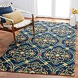 SAFAVIEH Heritage Collection HG475N Handmade Traditional Oriental Premium Wool Living Room Dining Bedroom Area Rug 5' x 8' Navy/Yellow
