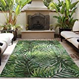 DECOMALL Outdoor Rugs for Patio Deck Porch Balcony Backyard, Tropical Plants Palm Leaf, 5'x7'