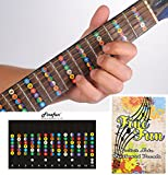 Guitar Fretboard Note Decals Fingerboard Frets Map Sticker for Beginner Learner Practice Fit 6 Strings Acoustic Electric Guitar FineFun (Black)