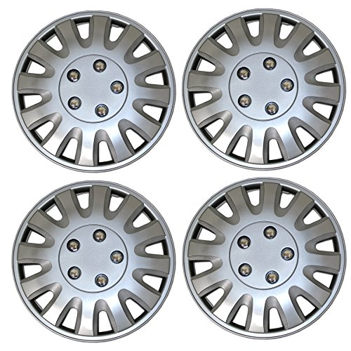 Tuningpros WC3-15-9738-S - Pack of 4 Hubcaps - 15-Inches Style Snap-On (Pop-On) Type Metallic Silver Wheel Covers Hub-caps