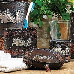 Western Tooled Leather Bath Set