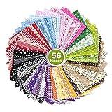 ZWOOS Telas para manualidades, 56 Pieces 25 x 25 cm Tela de algodón Paquete de tela,Tela Patchwork...