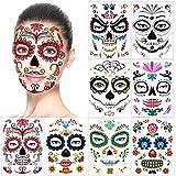 halloween tatuajes temporales de cara (8 hojas), halloween mascarada Día de los...