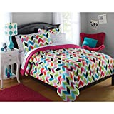 your zone bright chevron bed-in-a-bag bedding set Size: Queen