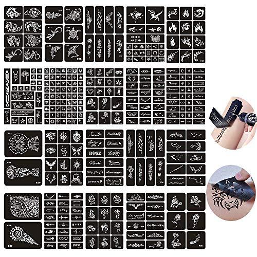 Jurxy 20 Hojas Kit de Plantilla de Tatuaje de Henna temporal
