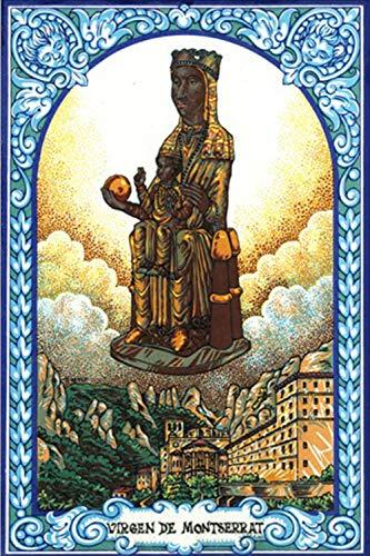 Virgen de Montserrat. Azulejo fabricado artesanalmente para