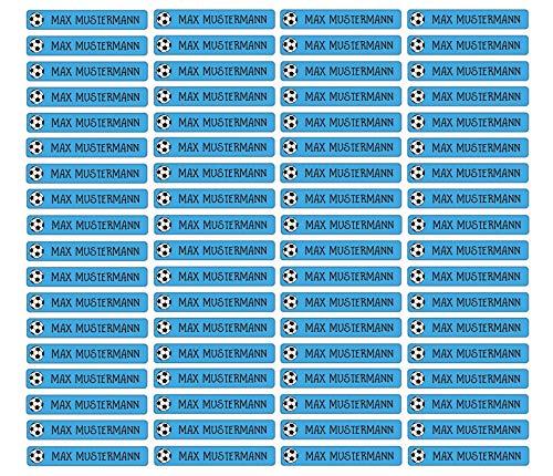 Stifteaufkleber für Bleistifte, Kugelschreiber & weitere Namensaufkleber - Aufkleber 49x7,5mm | 72 Stück Kinder & Erwachsene Schule & Kindergarten 37 Hintergründe in Auswahl (03 Fußball)