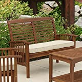 Walker Edison Wood Outdoor Patio Ladder Back Loveseat Chair with Washable Cushions All Weather Backyard Conversation Garden Poolside Balcony Couch, 2 Person, 44 Inch, Dark Brown