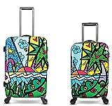 Equipaje, Maletas y Bolsas de Viaje - Premium Designer Maleta Rígida Set 2 Piezas - Heys Artista Britto Palm Equipaje de Mano + Trolley con 4 Ruedas Grande
