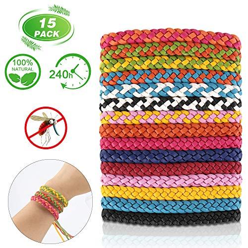 Molbory Lot de 15 Bracelets Anti-moustiques pour intérieur et extérieur