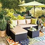 Barton 3-Piece Outdoor Rattan Sectional Sofa Patio Wicker Thick Seat Cushion Water Repellent Ottoman Birdsong Coffee Table Set (Beige)