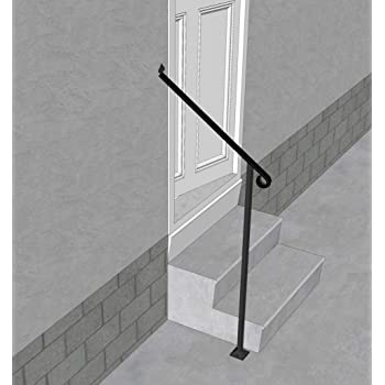 Iron X Handrail Door 2 20 Wall Floor Mounted Handrail   Iron Handrails For Stairs   Cheap   Staircase   Spanish Style   Wood   Craftsman Style
