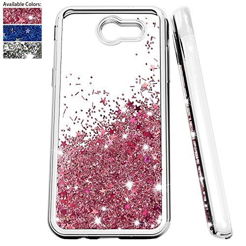 NiuBox Glitter Liquid Clear TPU Phone Case with Screen Protector Compatible for Galaxy J3 2017,J3 Emerge,J3 Eclipse,J3 Prime,J3 Luna Pro,J3 Mission,Amp Prime,Express Prime 2,Sol 2 (Rose Gold)