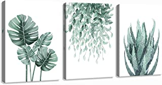 Green Canvas Wall Art for Living Room Bedroom, Monstera Shallow Green Leaf Tropical..