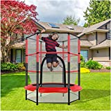 Kids Mini Trampoline | 5FT Round Bounce Jumping Mat for Indoor/Outdoor Trampoline with Safety Enclosure Net & Spring Pad for Kid Adults