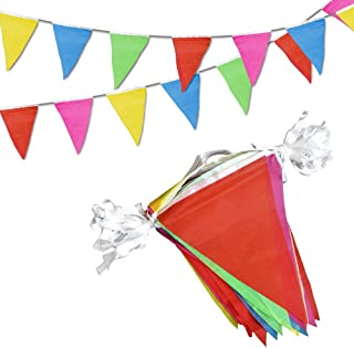 Novelty Place 100 Feet Pennant Banner – 75 Multicolor Bunting Flags –..
