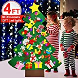 iGeeKid 4 FT LED Felt Christmas Tree for Toddler Kids DIY Christmas Tree Snowman with 30 Ornaments 10ft String Light Christmas Wall Hanging Decor DIY Xmas New Year Gifts for Boys Girls Party Supplies