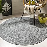 Safavieh Braided Collection BRD256C Hand-woven Cotton Area Rug, 3' Round, Ivory/Black