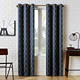 Sun Zero Kenwood Chevron Blackout Grommet Curtain Panel, 40' x 95', Navy Blue