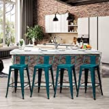 24 inch Seat Height Metal Bar Stools Set of 4 Industrial Counter Height Barstools for Indoor-Outdoor (24' Low Back, Distressed Teal Blue)