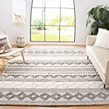 Safavieh Natura Collection NAT102A Handmade Moroccan Boho Tribal Wool & Cotton Area Rug, 8' x 8' Square, Grey / Ivory