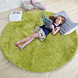 Grass Green Round Rug for Bedroom,Fluffy Circle Rug 4'X4' for Kids Room,Furry Carpet for Teen's Room,Shaggy Throw Rug for Nursery Room,Fuzzy Plush Rug for Dorm,Green Carpet,Cute Room Decor for Baby