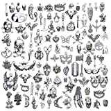 Keyzone Wholesale 100 Pieces Silver Plated Mixed Halloween Skull Charms Pendants DIY for Jewelry Making and Crafting