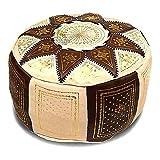 Medina Souvenirs Pouf fassi en Cuir Ivoire et Chocolat, Pouf marocain Fait Main...