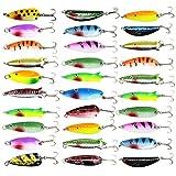 JL Sport Shaddock Fishing 30Pcs Mixed Fishing Metal Lures Colorful Meatl Casting Fishing Spinner Baits Spoon Fishing Lures Sharp Treble Hooks Tackle Kit