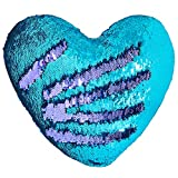 Play Tailor Mermaid Throw Pillow with Insert Reversible Sequins Pillow Heart Shape Decorative Cushion(13' x 15',Bright Green+Bright Purple)