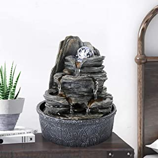 BBabe Rockery Indoor Water Fountain, Zen Meditation Tabletop Fountain with LED Lights..