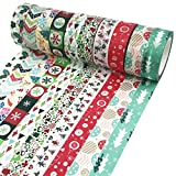 Benvo Christmas Washi Tape 10 Rolls Premium Xmas Tape Collection for Holiday Decorations, Gifts Wrapping and Present, Scrapbooking Arts Crafts Office Party Supplies 33 Ft Long of Each Tape