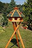 Vogelhaus von klein bis Riesig XXL Futterhaus Futterhäuschen Vogelvilla V18, Vogelfutterhaus aus Holz mit Solarbeleuchtung beleuchtet (Grün, mittel mit Ständer), mit Futtersilo, Silo