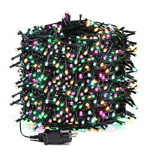 Avoalre Luz Navidad 100M 1000 LED Guirnalda Luces Cadena Luz con 8 Modos 4 Colores Guirnalda Decoracion Impermeables para Exterior, Interior, Fiesta, Boda, Jardín, Casa, Rosa/Amarillo/Azul/Verde