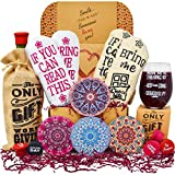 Gift Baskets for Women - Perfect Birthday Gifts for Her: 2 pairs of Funny socks, Funny glass, Coasters, Bottle stoppers and a Bottle tote. Birthday Gifts For Women Best Friend