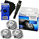 Philips Norelco SH50/52 Replacement Head for Series 5000, PowerTouch (PT8, PT7_) & AquaTouch (AT8, AT7_) Electric Shavers + Double Ended Shaver Brush + HeroFiber Ultra Gentle Cleaning Cloth