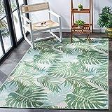 SAFAVIEH Barbados Collection BAR592X Tropical Botanical Indoor/ Outdoor Non-Shedding Easy Cleaning Patio Backyard Porch Deck Mudroom Area Rug, 8' x 10'5', Green / Teal