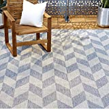 Home Dynamix Patio Country Calla Contemporary Herringbone Indoor/Outdoor Area Rug, 5'2'x7'2' Rectangle, Blue/Gray
