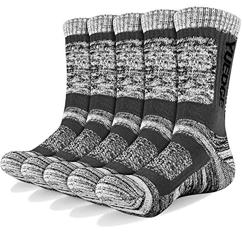 YUEDGE 3/5 paia di calzini sportivi da uomo Calze da equipaggio con cuscino performance, completo per attivit ricreative all'aperto, Trekking, Arrampicata, Campeggio, Escursionismo