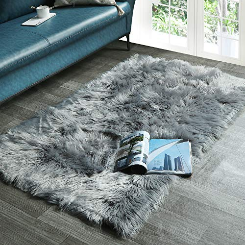 HAOCOO Faux Fur Sheepskin Rug Grey Shag Chair Coach Covers 3'x 5' Fluffy Wool Area Rug Large Soft Kids Play Mat...