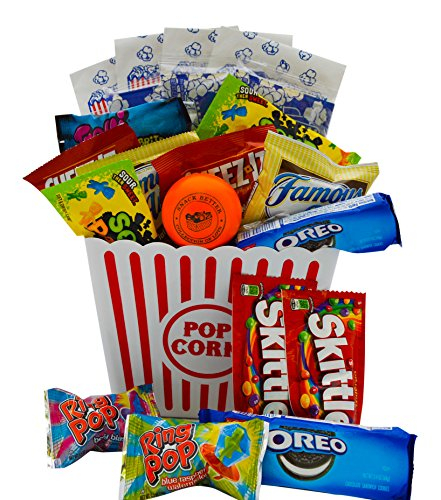 Ultimate Movie Night Gift Bundle Care Package, Easter Basket, Christmas with Popcorn, Candy, Cookies Plus Snack Better Stress Ball for Entire Family!