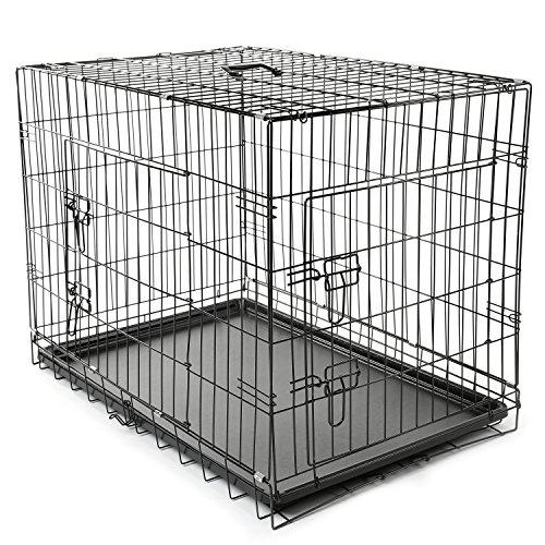 TRESKO Cage de transport pliable pour Chiens 90x60x67cm, Chats, Chiots, Chatons et Animaux domestique, en métal, Cage chien, pliable, Caisse de transport pour la voiture, 2 portes