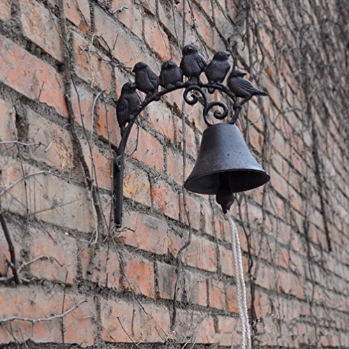 TentHome Antik Glocke Gusseisen Türglocke Wandglocke Landhaus Gartenglocke Vögel Handarbeit Türklingel